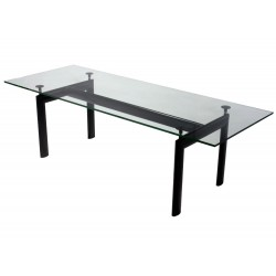 LC6 Le Corbusier Table w. glass top Tube d'Avion