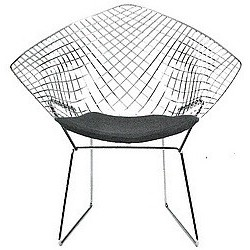 Designer Armchair by Harry Bertoia (1952) w. cushion
